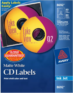 Avery Cd Labels Permanent Adhesive 40 Face Labels And 80 Spine