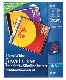 avery jewel case standard amp slimline inserts matte 20 inserts