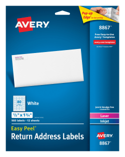 avery easy peel return address labels 1 2 x 1 3 4 960 labels