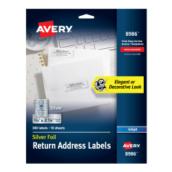 avery foil mailing labels 300 labels silver 8986 avery com