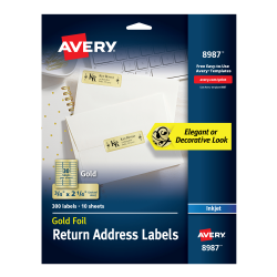 avery foil mailing labels 300 labels gold 8987 avery com