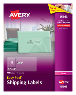 avery easy peel shipping labels 2 x 4 clear 15663 avery com