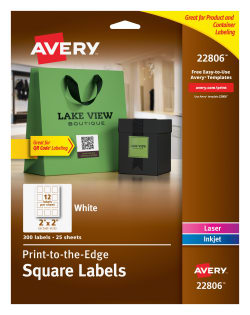 Avery® Easy Peel® Labels, TrueBlock® Technology, Print to the Edge, Square,  2