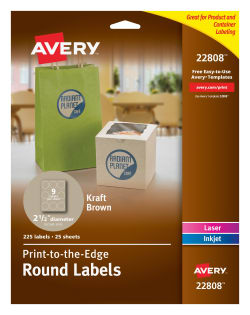 Avery® Round Labels, Print to the Edge, Permanent Adhesive, Kraft Brown,  2-1/2