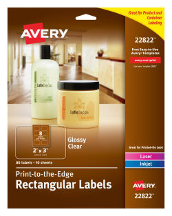 avery easy peel labels print to the edge permanent adhesive glossy clear rectangle 2 x 3 80 labels 22822