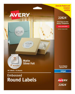 avery easy peel embossed foil labels matte silver 96 22824 avery com