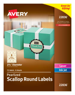 26x16mm White Wavy Edge Meto Style Labels 36 rolls x 1200 labels
