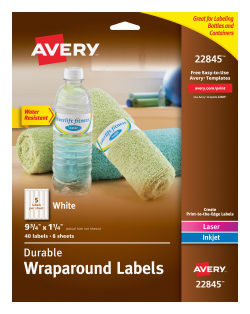 avery water resistant wraparound labels permanent adhesive 9 34 x 1 14 rectangle 40 labels 22845