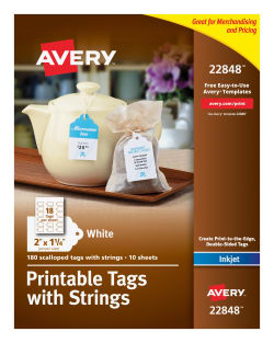 picture relating to Avery Printable Tags identify Avery® Printable Tags, With Strings, Scallop Benefit, 2\