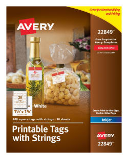photo regarding Avery Printable Tags titled Avery® Printable Tags with Strings, 1-1/2\
