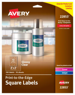 avery easy peel labels print to the edge permanent adhesive glossy clear square 2 x 2 120 labels 22853