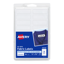 graphic relating to Printable Fabric Labels titled Avery® No-Iron Material Labels, Washer Dryer Harmless, Handwrite Basically, 1/2\