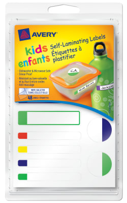 Avery® Self-Laminating Labels for Kids' Gear, Waterproof, Assorted, 48  Labels (41425)