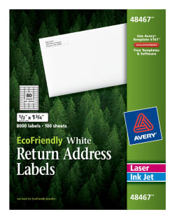 avery ecofriendly return address labels 1 2 x 1 3 4 8000 labels