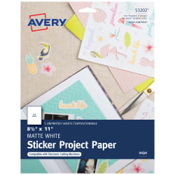 Avery Sticker Paper Project Paper Matte 8 1 2 X 11 5 Sheets 53202