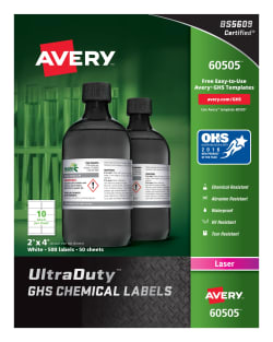 avery ultraduty ghs chemical labels waterproof 2 x 4 500 labels