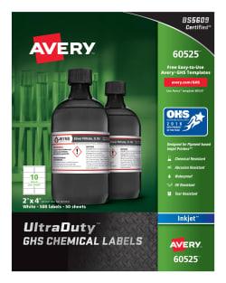 avery ultraduty ghs chemical labels for pigment inkjet printers uv
