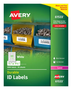 photo about Printable Asset Tags known as Avery® Long lasting Identity Labels, TrueBlock® Technological know-how, Lasting Adhesive, 2/3\u201d x 1-3/4\u201d, 3,000 Labels (61533)