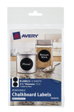 avery removable chalkboard labels black 2 3 4 diameter 8 labels