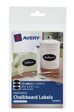 avery chalkboard labels handwrite 1 3 4 x 3 3 4 12 labels 73303