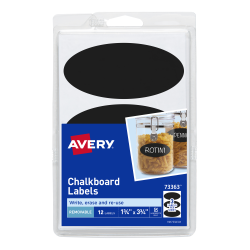 avery removable chalkboard labels black 3 3 4 x 1 3 4 12 labels