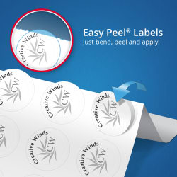 Avery® Easy Peel® Labels, Print to the Edge, Permanent Adhesive, Glossy,  Clear, Round, 2