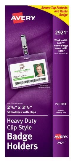 Avery Heavy Duty Clip Style Badge Holders 2 14 X 3 12 50