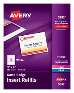Avery Name Badge Insert Refills Inserts Averycom - Avery 3x4 name badge template
