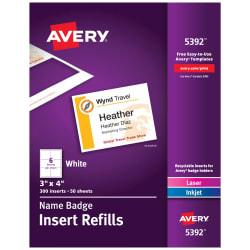 avery name badge insert refills 300 inserts 5392 avery com