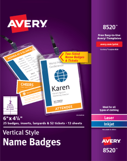 avery vertical name badges tickets holders lanyards 8520