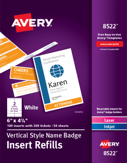 avery vertical name badge ticket inserts 6 x 4 1 4 100