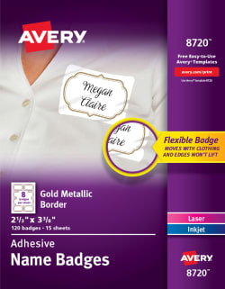 avery removable name tag labels gold metallic border 8720