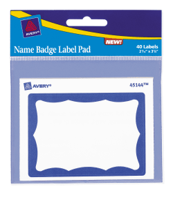 avery name badge label pad 2 7 16 x 3 3 8 40 badges 45144