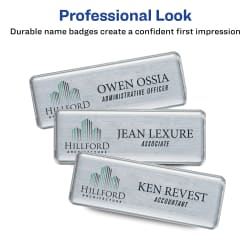 """The Mighty Badge® by Avery® Professional Reusable Name Badge System,  Silver, 1"""" x 3"""" ID Badges, 50 Durable, Reusable Name Tags, 120 Inserts for  Laser"""