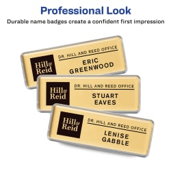"The Mighty Badge® by Avery® Professional Reusable Name Badge System, Gold,  1"" x 3"" ID Badges, 10 Durable, Reusable Name Tags, 80 Inserts for"
