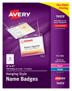 Avery TopLoading HangingStyle Name Badges Badges - Avery vertical name badge template