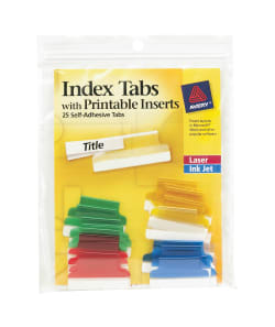 graphic regarding Printable Tabs referred to as Avery® Insertable Tabs, Self-Adhesive, Printable Inserts, 1\