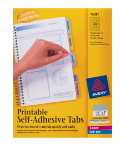 photo about Avery Printable Tabs identified as Avery® Printable Tabs, Plastic, Self-Adhesive, Repositionable, 1-1/4\