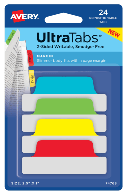 Avery® Ultra Tabs® Repositionable Margin Tabs, Two-Side Writable, 2-1/2