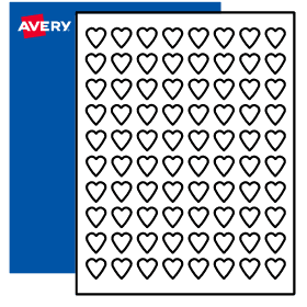 3 4 x 3 4 heart labels print to the edge avery