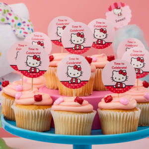 How to create cupcake toppers for a hello kitty party avery well show you how to create these cupcake decorations and personalize them for all of your party guests for more adorable hello kitty printables maxwellsz