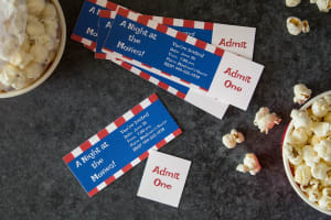 Make invitations to fit the movie theme with tear-away tickets and movie popcorn design templates from our summer templates gallery.