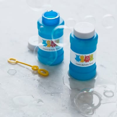 Bubble bottle with wraparound label custom party