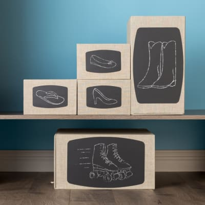 View you favorite footwear from the outside of the box. Avery Chalkboard Labels can be used again and again-just erase and redraw