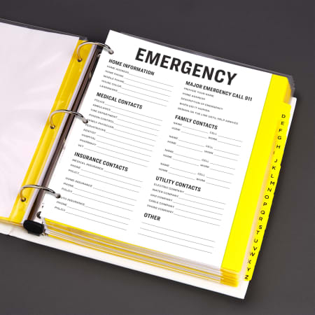 Emergency Binder with information and contacts