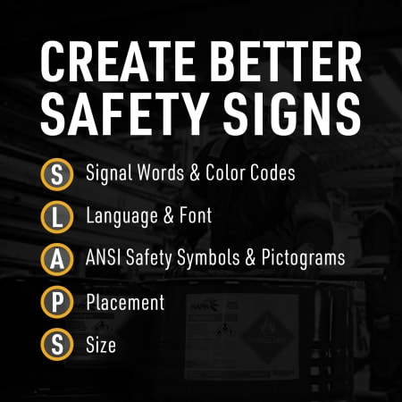 Infographic Create Better Safety Signs (SLAPS) 1) S - Signal Words & Color Codes 2) L – Language & Font 3) A – ANSI Safety Symbols & Pictograms 4) P – Placement 5) S - Size