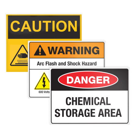 Three different signs, yellow caution sign, warning arc flash and shock hazard sign, and danger chemical storage area sign on white background
