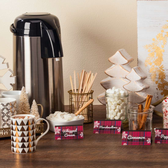Set up a complimentary hot chocolate bar with customized Avery Tent Cards to identify fixings.