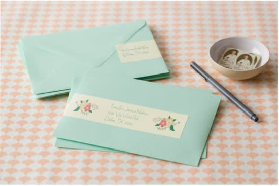 one side of the label and your guests address on the other side then simply wrap it around the side of your envelope for an eye catching invitation