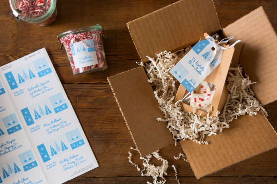 Make your gifts and shipping packages holiday ready with a coordinated look inside and out.
